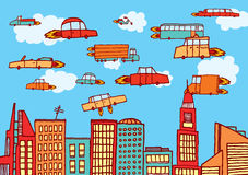 Future cars flying over the city Stock Images