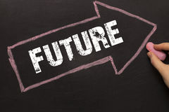 Future - Chalkboard with arrow on black Stock Image