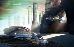 Future city. Virtual presentation of a futuristic city on an alien planet. on the ocean coast Royalty Free Stock Photos