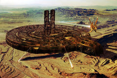 Future city. Virual presentation of a futuristic city on Earth or on a far planet Stock Photos