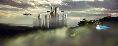 Future city. Virual presentation of a futuristic city on Earth Royalty Free Stock Photo