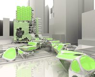 Future city. 3d designed illustration of a futuristic fantasy building made from scratch Stock Image