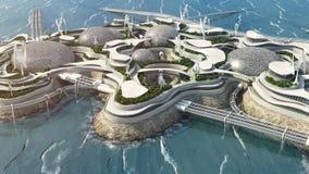 Future city concept, high tech island in the ocean