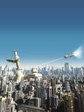 Future City - Falling Tower Stock Photos