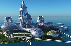 Future City. On the coast royalty free illustration