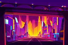Future city highway cartoon vector illustration vector illustration