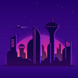 Future city illustration. Future city night landscape illustration. Cityscape with neon lights and abstract buildings. Cartoon vector background stock illustration