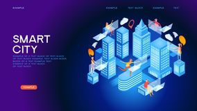 Future city or intelligent building isometric vector concept. Smart city or intelligent building isometric vector concept. Smart home control concept. Concept royalty free illustration
