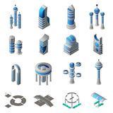 Future City Isometric Icons Set Stock Photos
