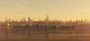 Future City Seaboard Royalty Free Stock Image
