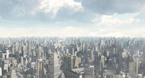 Future City Snow Stock Photo