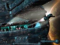 Future city in space. A future city in space, close to planet Royalty Free Stock Photos