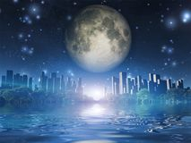 Future city. Surreal digital art. City surrounded by green trees in water world. Giant moon in the sky. Some elements image credit NASA Stock Photography