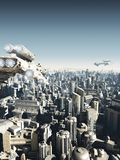 Future City Under Attack. Science fiction city being attacked from above, 3d digitally rendered illustration Royalty Free Stock Photo