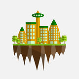 Future city vector illustration in flat design. Floating island with eco-town Stock Photography