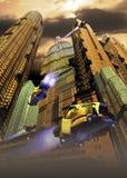 Future city. Virtual presentation of a futuristic city in Manhattan Royalty Free Stock Photo