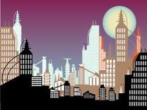 Future cityscape abstract colors twilight moon Stock Photos