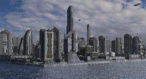 Future Cityscape 3D Illustration Royalty Free Stock Photo