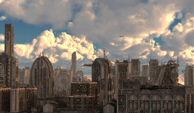 Future Cityscape 3D Illustration Royalty Free Stock Photography