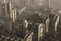 Future Cityscape 3D Illustration Royalty Free Stock Images