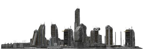 Future Cityscape Isolated On White 3D Illustration Royalty Free Stock Photos