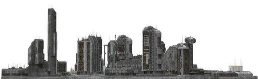 Future Cityscape Isolated On White 3D Illustration Stock Image