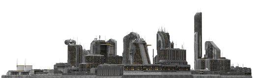 Future Cityscape Isolated On White 3D Illustration Stock Photos