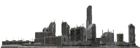 Future Cityscape Isolated On White 3D Illustration Stock Photography