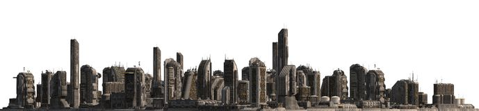 Future Cityscape Isolated On White 3D Illustration. 3D illustration future cityscape isolated on white background Royalty Free Stock Images