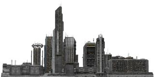Future Cityscape Isolated On White 3D Illustration Royalty Free Stock Photography