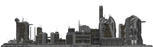 Future Cityscape Isolated On White 3D Illustration Royalty Free Stock Images