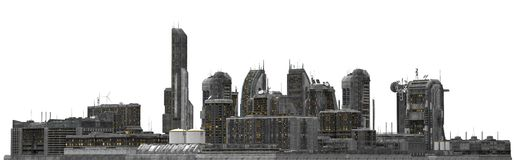 Future Cityscape Isolated On White 3D Illustration. 3D illustration future cityscape isolated on white background Royalty Free Stock Photography