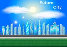 Future cityscape. Skyscrapers against clouds and blue sky. stock illustration