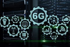 Future Communications Fast Technology. 6G Network Connection Concept. High Speed Mobile Wireless Technology vector illustration