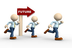 Future concept. 3d people - man, person and directional sign with word future. Future concept Royalty Free Stock Photography