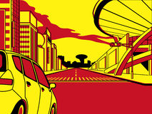 Future crossroad. In comics three color strip pattern Royalty Free Stock Photography