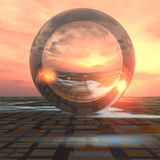 Future Crystal Ball on Grid Horizon. A sunrise over grid horizon with a giant crystal ball background. Abstract concept to forecasting the future or cloud royalty free illustration