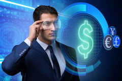 The future of currency trading with businessman Royalty Free Stock Photography