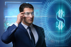 The future of currency trading with businessman Royalty Free Stock Photo
