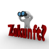 Future ?. 3d man with binoculars looking interrogative for the future, German concept Zukunft Stock Photography