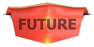 Banner future. Future 3D rendered red banner , isolated on white background Royalty Free Stock Photography