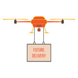 Future delivery with red and yellow quadrocopter. Concept of fast shipping, innovative service and remote control toy. isolated on white background. flat style Royalty Free Stock Image
