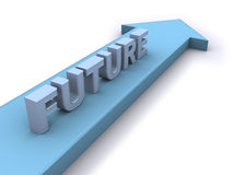 Future direction. 3d word Future on 3d arrow Stock Images