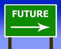 Future direction road street sign and the sky Stock Images