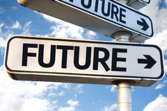 Future direction sign on sky background stock images