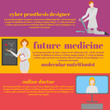 Future doctors and nurses and medical staff. Medical futuristic team in flat design people character. Molecular diet Stock Photos