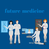 Future doctors and nurses and medical staff. Medical futuristic team in flat design people character. Molecular diet Stock Photo