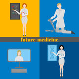 Future doctors and nurses and medical staff. Medical futuristic team in flat design people character. Molecular diet Stock Images