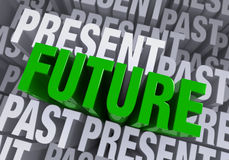The Future Emerges From The Past And Present. A bold, green FUTURE arises from a blue gray background consisting of the words PAST and PRESENT repeated many Stock Images