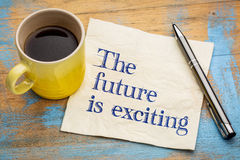 The future is exciting - napkin. The future is exciting - handwriting on a napkin with a cup of coffee stock image